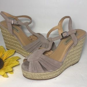 STEVE MADDEN Taupe Wedge Sandals 8